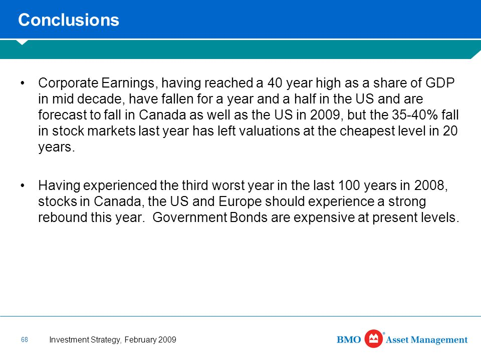Investment Strategy, February 2009 68 Conclusions Corporate Earnings, having reached a 40 year high as a share of GDP in mid decade, have fallen for a year and a half in the US and are forecast to fall in Canada as well as the US in 2009, but the 35-40% fall in stock markets last year has left valuations at the cheapest level in 20 years.