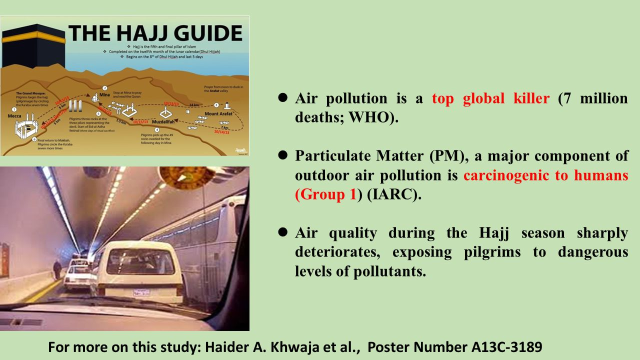 Extremely high levels of air pollutants during the Hajj period.