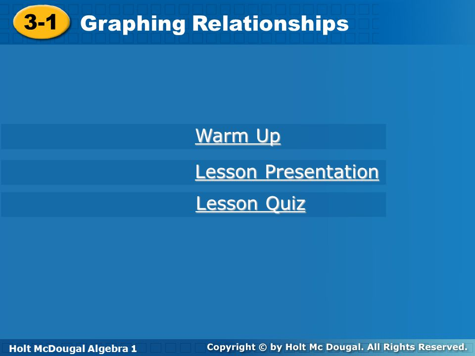 Holt McDougal Algebra 1 3-1 Graphing Relationships Example 2A: Sketching Graphs for Situations Sketch a graph for the situation.
