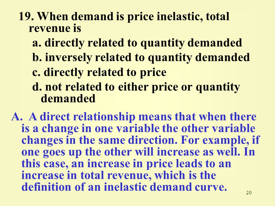20 19. When demand is price inelastic, total revenue is a. directly related to quantity demanded b. inversely related to quantity demanded c. directly