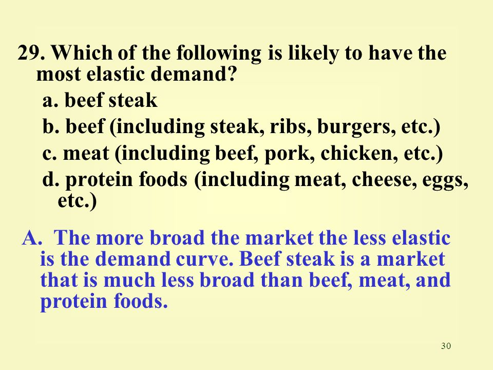 30 29. Which of the following is likely to have the most elastic demand? a. beef steak b. beef (including steak, ribs, burgers, etc.) c. meat (includi