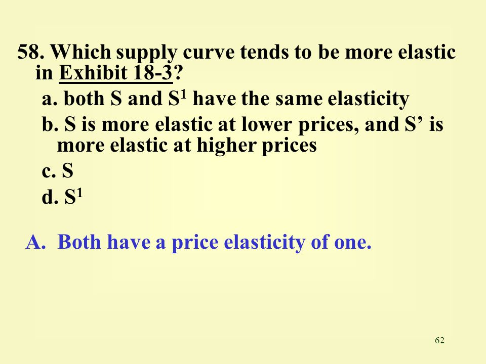 62 58. Which supply curve tends to be more elastic in Exhibit 18-3?Exhibit 18-3 a. both S and S 1 have the same elasticity b. S is more elastic at low