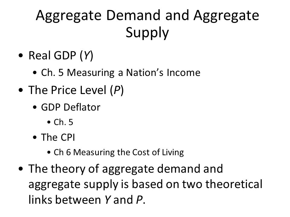 Aggregate Demand and Aggregate Supply The aggregate-demand curve shows the total quantity of Made in USA goods and services that everybody—households, firms, the government, and foreigners—wants to buy at each price level.