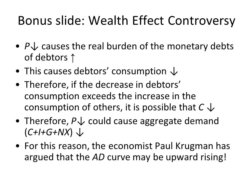 Why the Aggregate-Demand Curve Is Downward Sloping: Interest Rate Effect P↓ causes nominal interest rate ↓ See Ch.