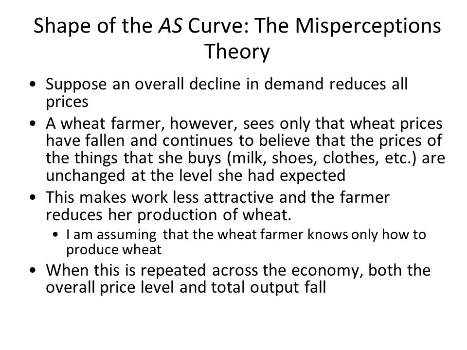 P Y 120 YNYN Shape of the AS Curve: The Misperceptions Theory AS shows the aggregate supply curve for 2010 Back in 2009, businesses had expected that demand would be strong in 2010 and prices would be P e = 140 If the actual price level in 2010 (P) turns out to be 140, the bosses' expectations are fulfilled.
