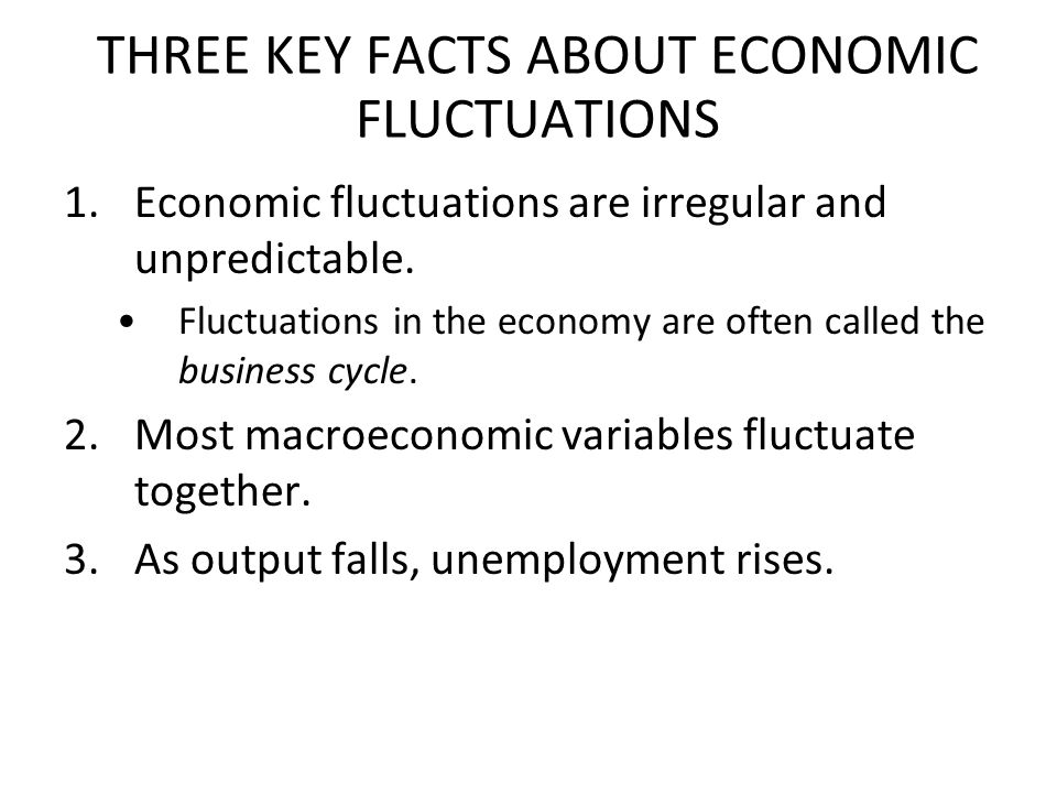 Three Key Facts About Economic Fluctuations Fact 1: Economic fluctuations are irregular and unpredictable