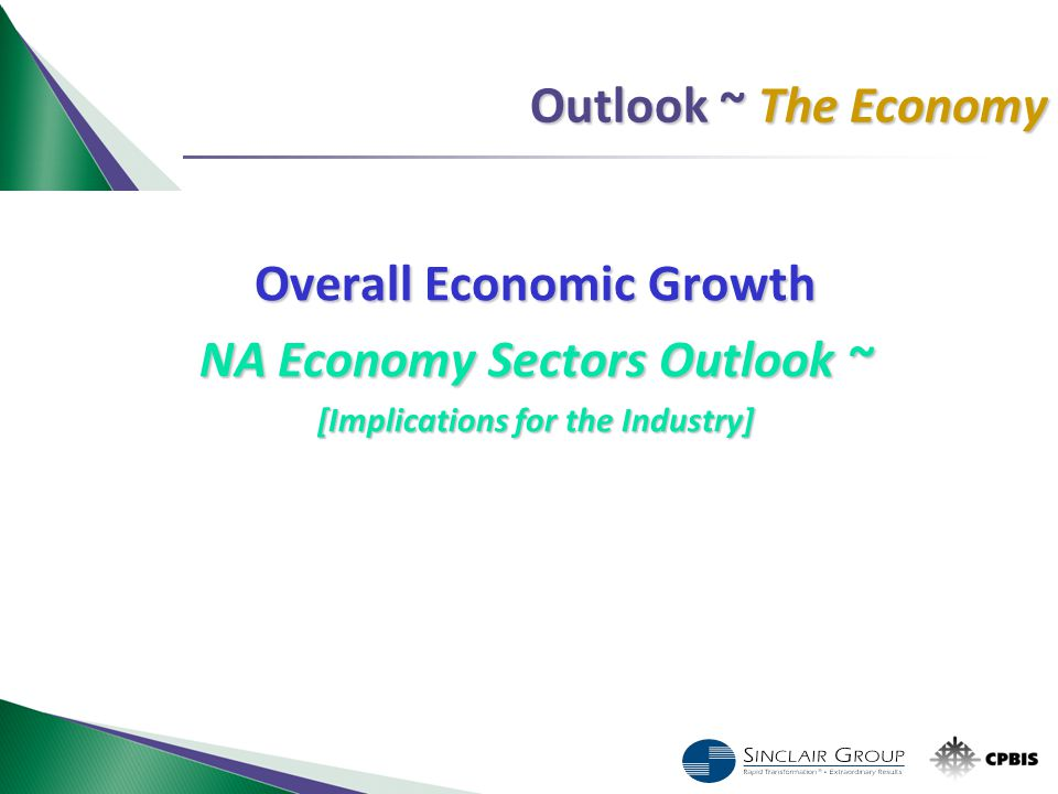 Outlook ~ The Economy Overall Economic Growth NA Economy Sectors Outlook ~ [Implications for the Industry]