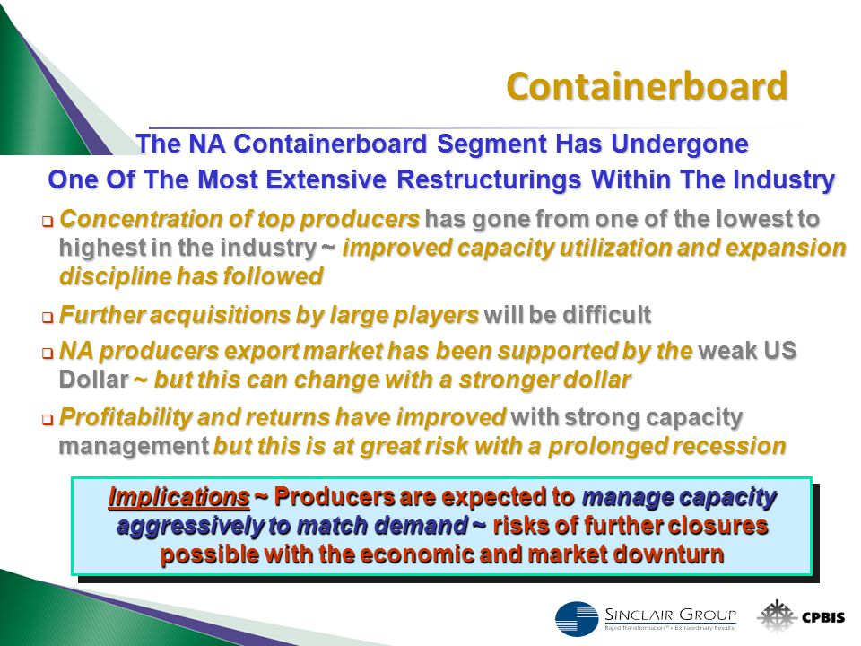 The NA Containerboard Segment Has Undergone One Of The Most Extensive Restructurings Within The Industry  Concentration of top producers has gone fro