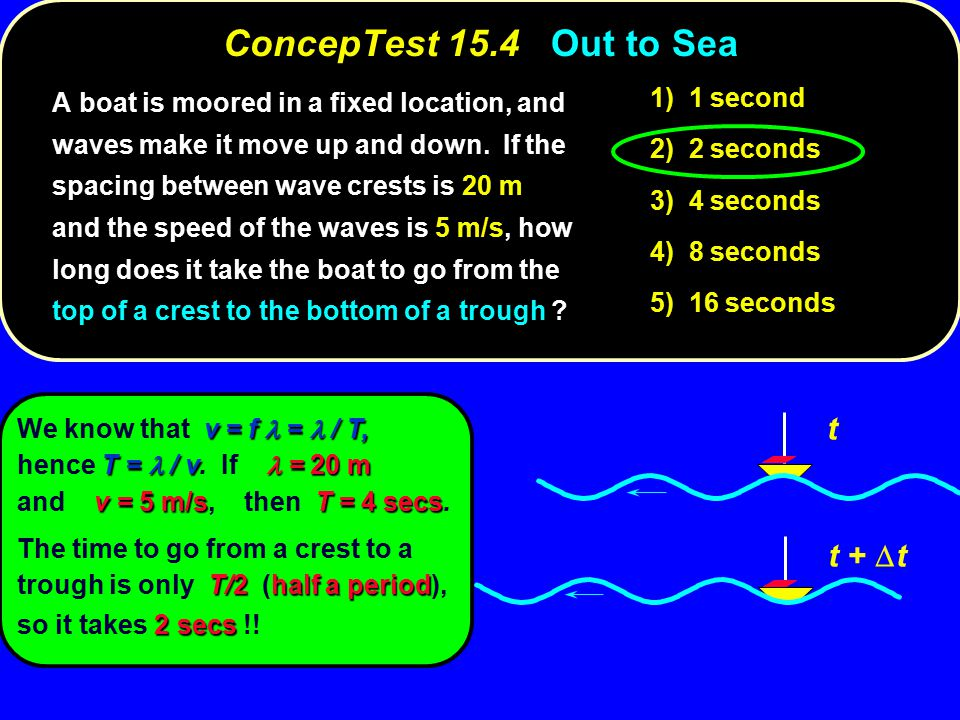 ConcepTest 15.4Out to Sea ConcepTest 15.4 Out to Sea t t +  t 1) 1 second 2) 2 seconds 3) 4 seconds 4) 8 seconds 5) 16 seconds A boat is moored in a fixed location, and waves make it move up and down.