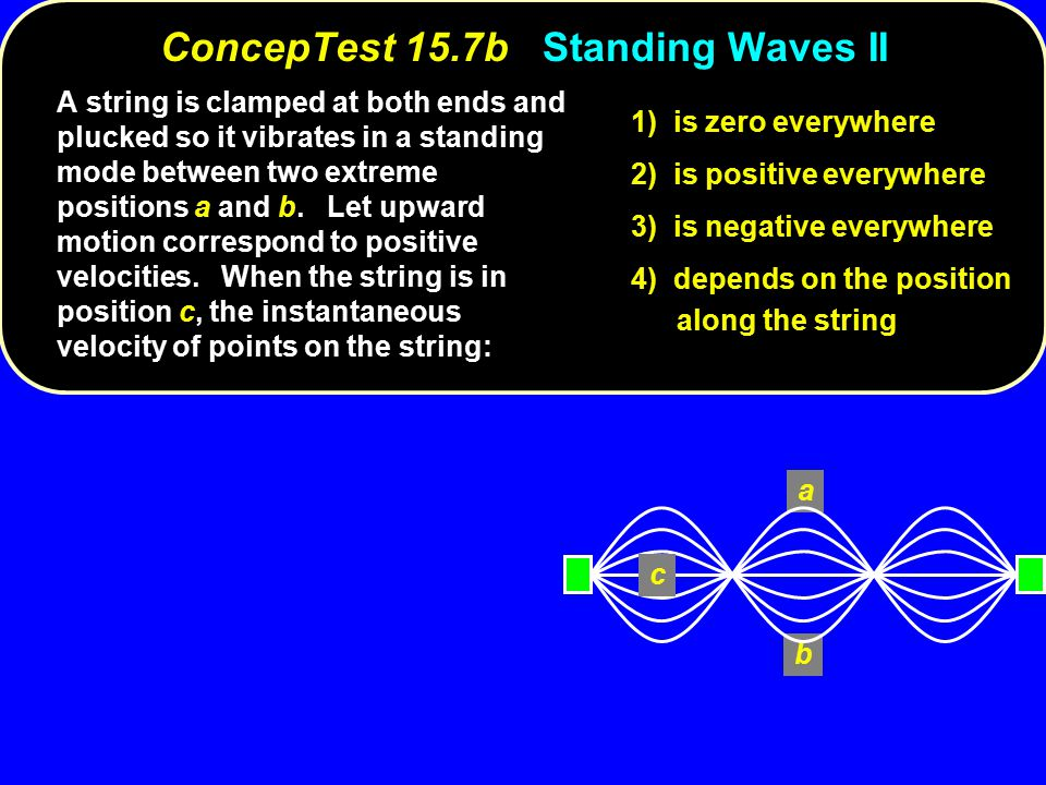 a b c ConcepTest 15.7bStanding Waves II ConcepTest 15.7b Standing Waves II A string is clamped at both ends and plucked so it vibrates in a standing mode between two extreme positions a and b.