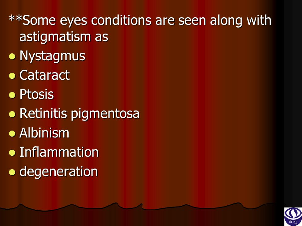 type of regular astigmatism type of regular astigmatism It is subdivided into four type ; – It is subdivided into four type ; – With-the-rule astigmatism With-the-rule astigmatism Against-the-rule astigmatism Against-the-rule astigmatism Oblique astigmatism Oblique astigmatism bi-oblique astigmatism bi-oblique astigmatism