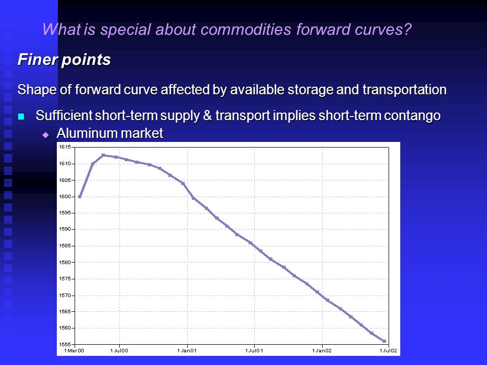 Finer points Shape of forward curve affected by available storage and transportation Sufficient short-term supply & transport implies short-term contango Sufficient short-term supply & transport implies short-term contango  Aluminum market What is special about commodities forward curves
