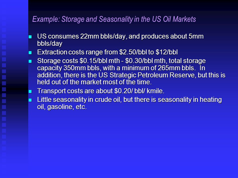 Example: Storage and Seasonality in the US Oil Markets US consumes 22mm bbls/day, and produces about 5mm bbls/day US consumes 22mm bbls/day, and produces about 5mm bbls/day Extraction costs range from $2.50/bbl to $12/bbl Extraction costs range from $2.50/bbl to $12/bbl Storage costs $0.15/bbl mth - $0.30/bbl mth, total storage capacity 350mm bbls, with a minimum of 265mm bbls.