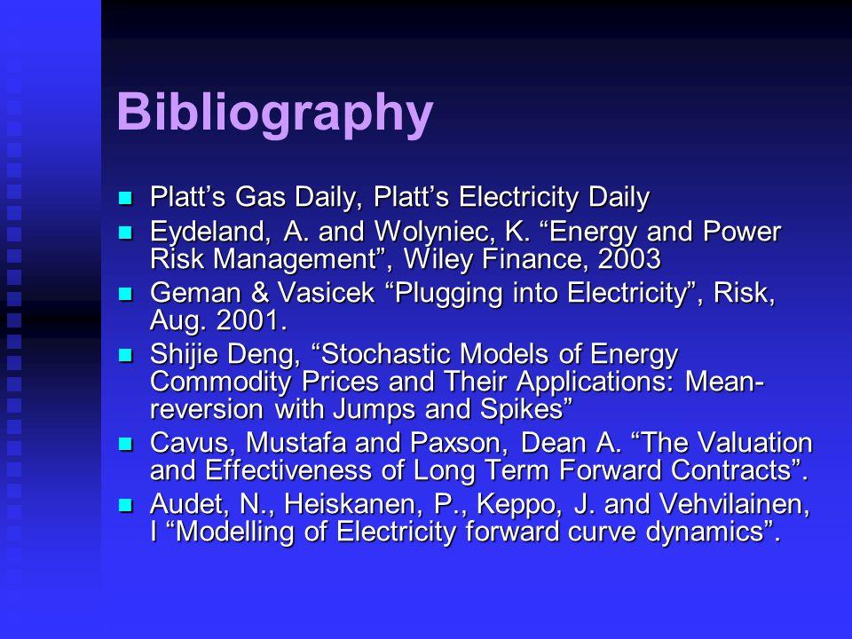 "Bibliography Platt's Gas Daily, Platt's Electricity Daily Platt's Gas Daily, Platt's Electricity Daily Eydeland, A. and Wolyniec, K. ""Energy and Power"