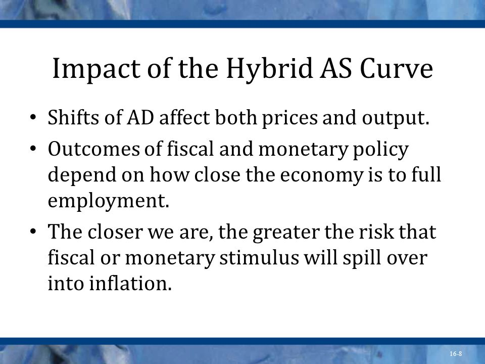 16-8 Impact of the Hybrid AS Curve Shifts of AD affect both prices and output.