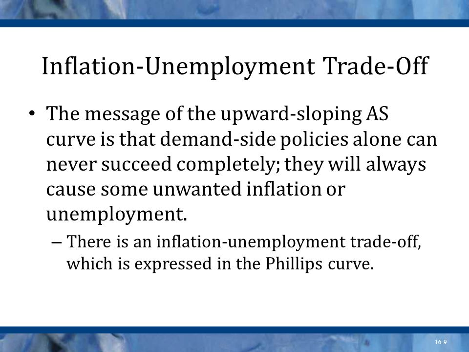 16-9 Inflation-Unemployment Trade-Off The message of the upward-sloping AS curve is that demand-side policies alone can never succeed completely; they will always cause some unwanted inflation or unemployment.