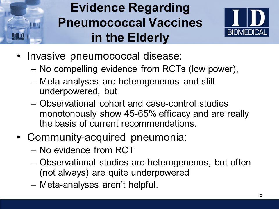 5 Evidence Regarding Pneumococcal Vaccines in the Elderly Invasive pneumococcal disease: –No compelling evidence from RCTs (low power), –Meta-analyses are heterogeneous and still underpowered, but –Observational cohort and case-control studies monotonously show 45-65% efficacy and are really the basis of current recommendations.