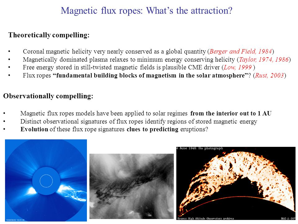 Theoretically compelling: Coronal magnetic helicity very nearly conserved as a global quantity (Berger and Field, 1984) Magnetically dominated plasma relaxes to minimum energy conserving helicity (Taylor, 1974, 1986) Free energy stored in still-twisted magnetic fields is plausible CME driver (Low, 1999 ) Flux ropes fundamental building blocks of magnetism in the solar atmosphere .