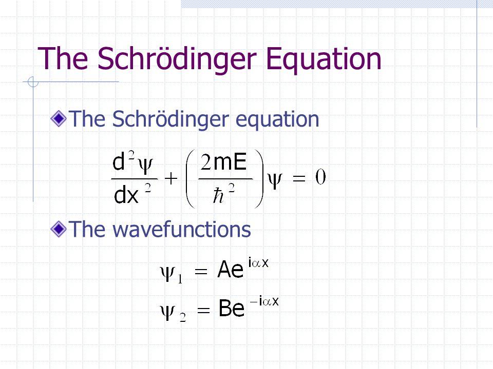 The Schrödinger Equation The Schrödinger equation The wavefunctions