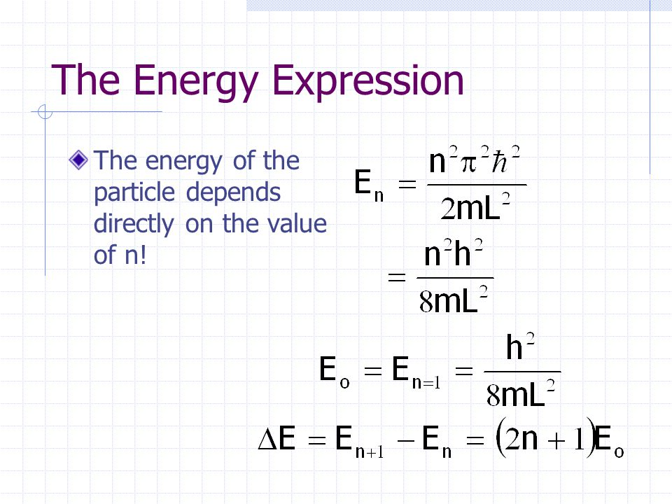 The Energy Expression The energy of the particle depends directly on the value of n!