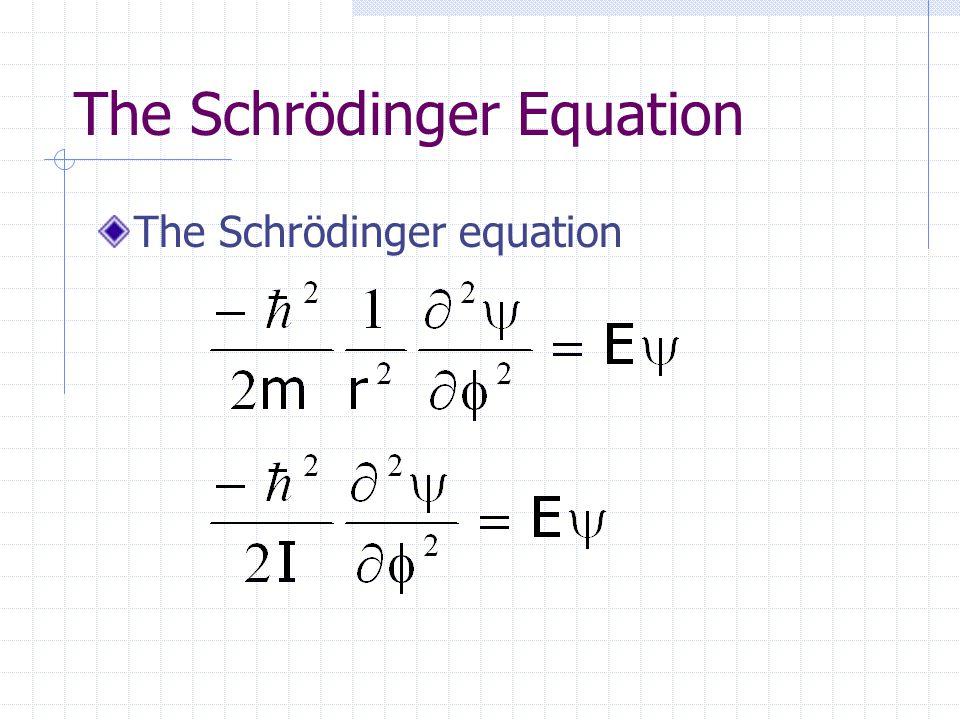 The Schrödinger Equation The Schrödinger equation
