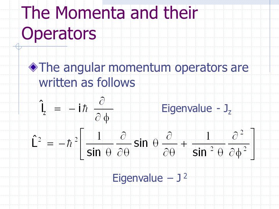The Momenta and their Operators The angular momentum operators are written as follows Eigenvalue - J z Eigenvalue – J 2