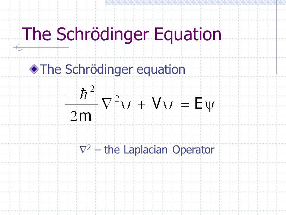 The Schrödinger Equation The Schrödinger equation  2 – the Laplacian Operator