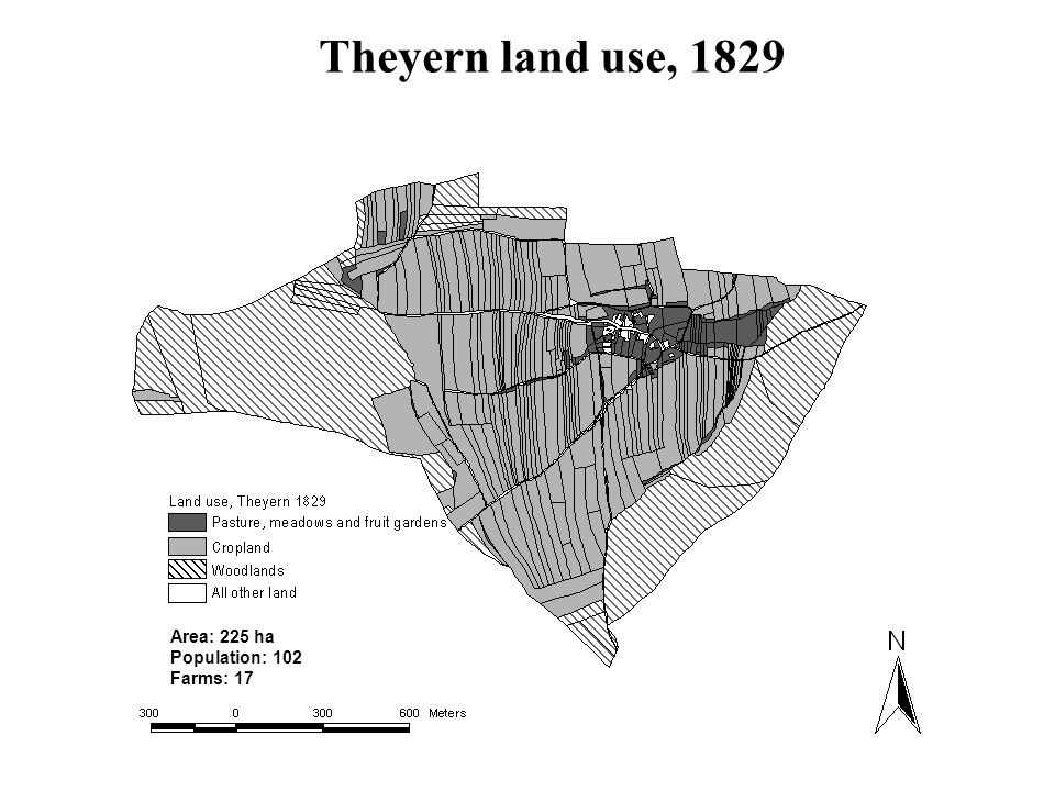 Theyern land use, 1829 Area: 225 ha Population: 102 Farms: 17