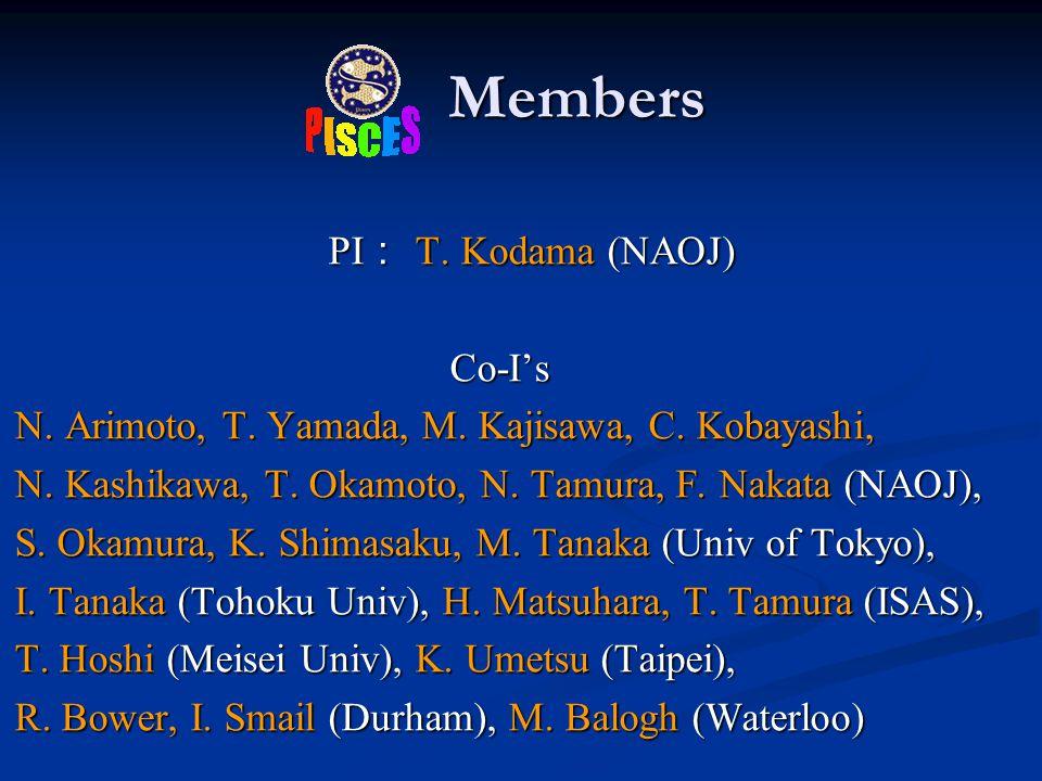 Members Members PI : T. Kodama (NAOJ) PI : T. Kodama (NAOJ) Co-I's Co-I's N.