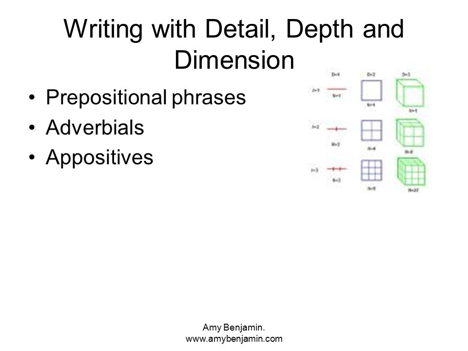 Amy Benjamin. www.amybenjamin.com Writing with Detail, Depth and Dimension Prepositional phrases Adverbials Appositives