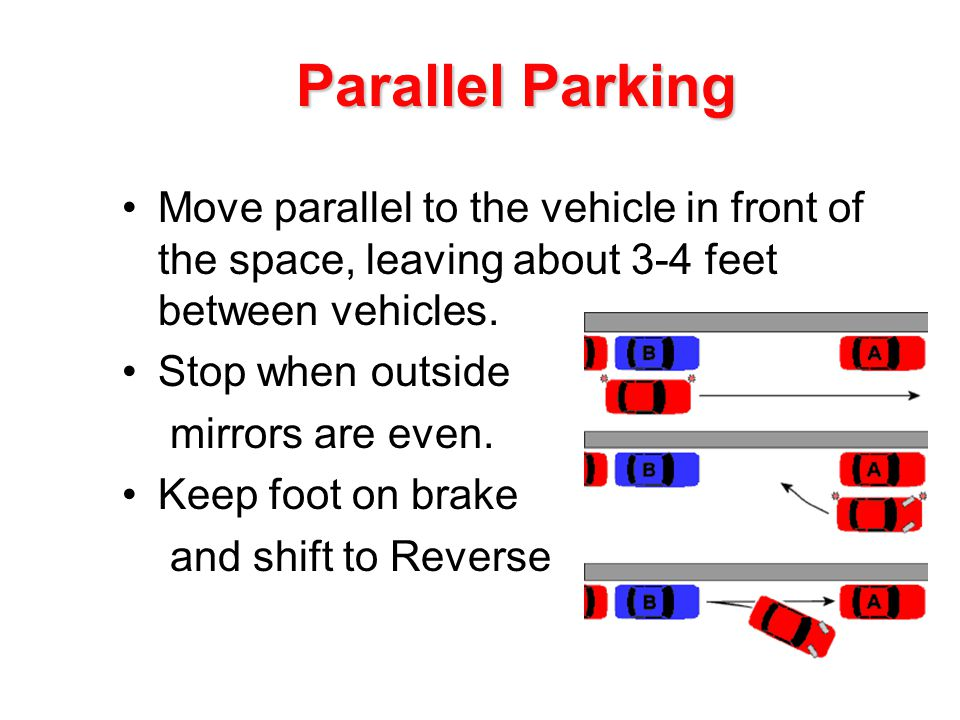 Move parallel to the vehicle in front of the space, leaving about 3-4 feet between vehicles.