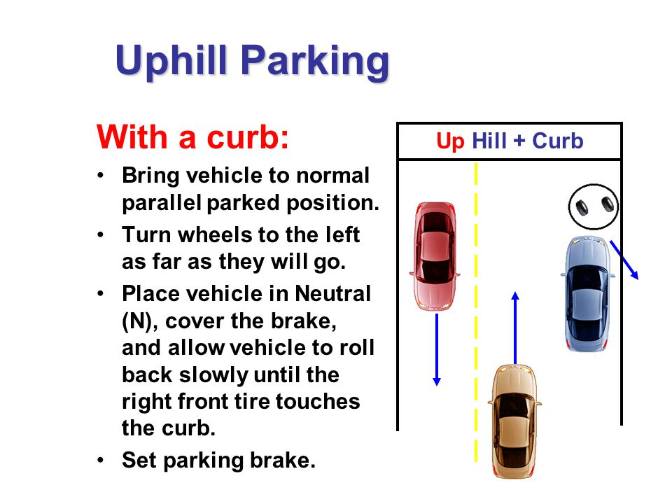 With a curb: Bring vehicle to normal parallel parked position.