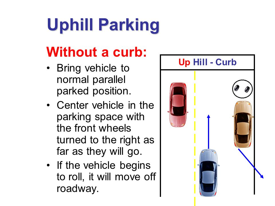 Without a curb: Bring vehicle to normal parallel parked position.