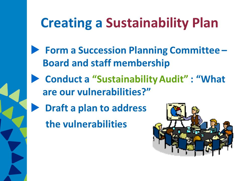 Creating a Sustainability Plan  Form a Succession Planning Committee – Board and staff membership  Conduct a Sustainability Audit : What are our vulnerabilities  Draft a plan to address the vulnerabilities