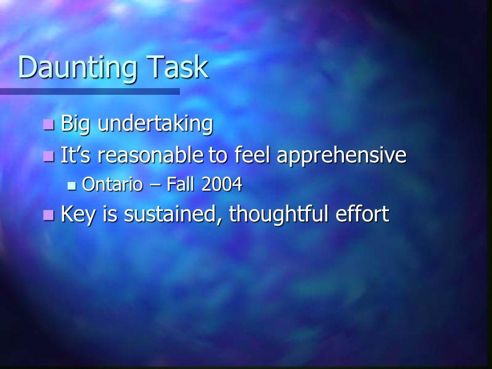 Daunting Task Big undertaking Big undertaking It's reasonable to feel apprehensive It's reasonable to feel apprehensive Ontario – Fall 2004 Ontario – Fall 2004 Key is sustained, thoughtful effort Key is sustained, thoughtful effort