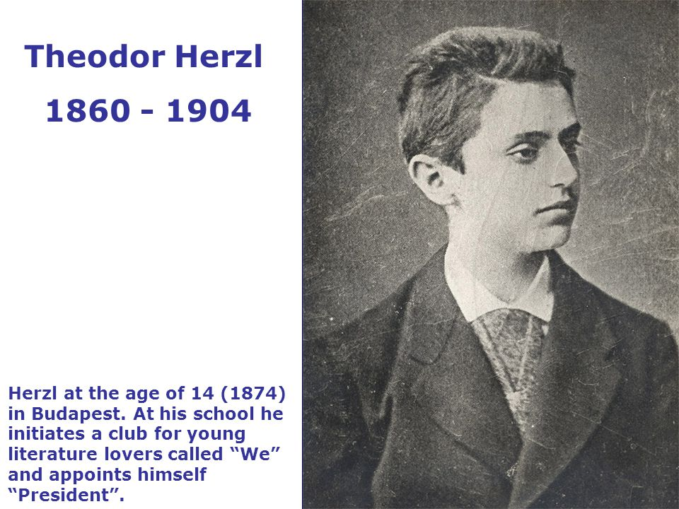 Herzl at the age of 14 (1874) in Budapest.