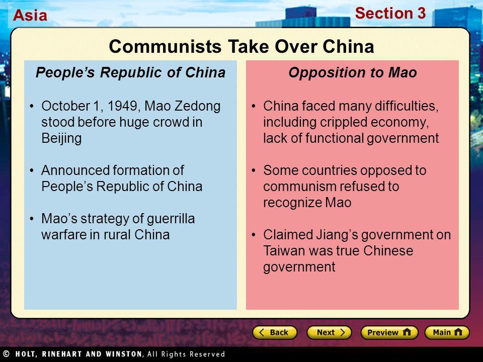 Asia Section 3 China faced many difficulties, including crippled economy, lack of functional government Some countries opposed to communism refused to