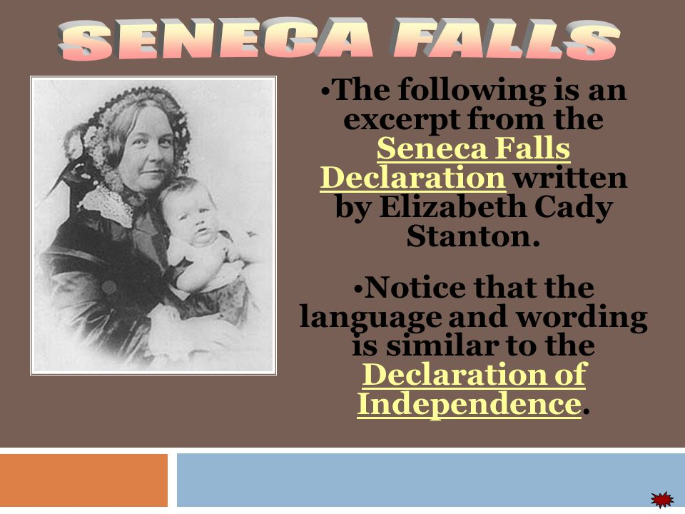 The first Woman's rights movement was in Seneca Falls, New York in 1849…… The things they talked about: Educational and professional opportunities Property rights Legal equality repeal of laws awarding the father custody of the children in divorce.