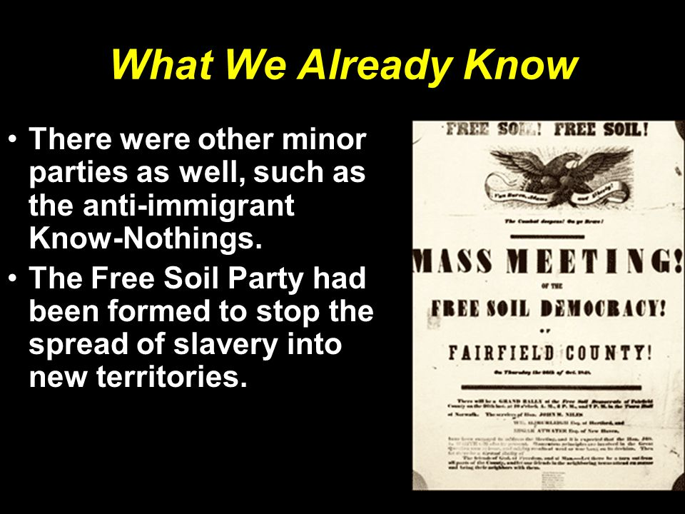 What We Already Know There were other minor parties as well, such as the anti-immigrant Know-Nothings.