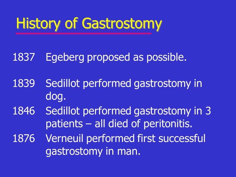 History of Gastrostomy 1837Egeberg proposed as possible. 1839Sedillot performed gastrostomy in dog. 1846Sedillot performed gastrostomy in 3 patients –
