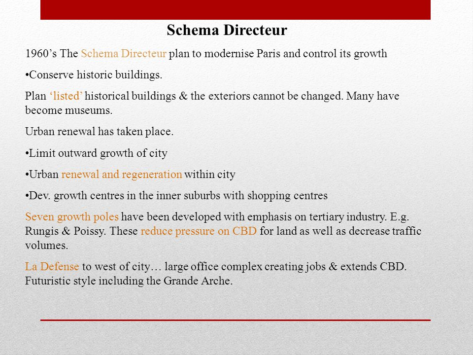 Schema Directeur 1960's The Schema Directeur plan to modernise Paris and control its growth Conserve historic buildings. Plan 'listed' historical buil