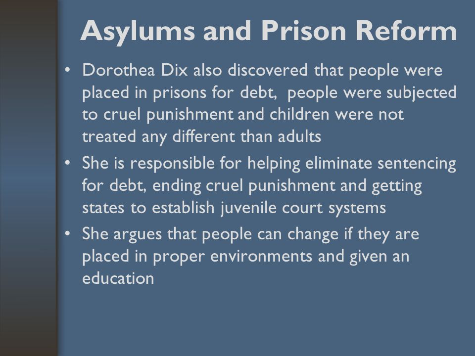 The Asylum Movement Dorothea DixDorothea Dix, a Boston schoolteacher, took the lead in advocating state supported asylums for the mentally ill She att