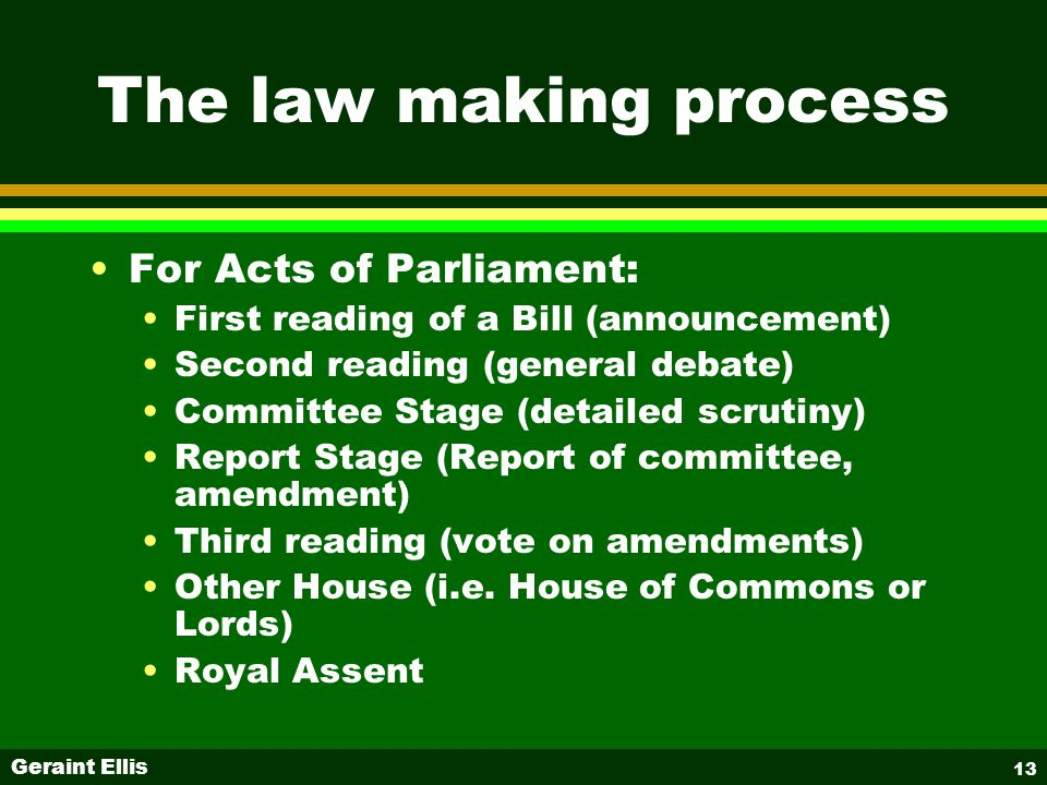 Geraint Ellis 13 The law making process For Acts of Parliament: First reading of a Bill (announcement) Second reading (general debate) Committee Stage (detailed scrutiny) Report Stage (Report of committee, amendment) Third reading (vote on amendments) Other House (i.e.