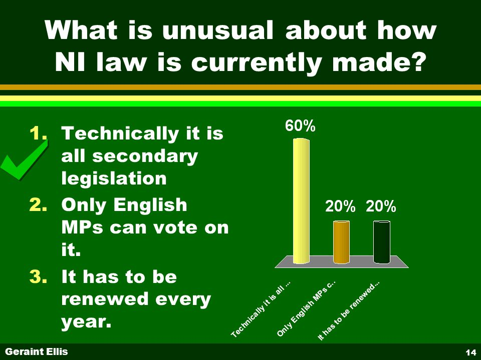 Geraint Ellis 14 What is unusual about how NI law is currently made.