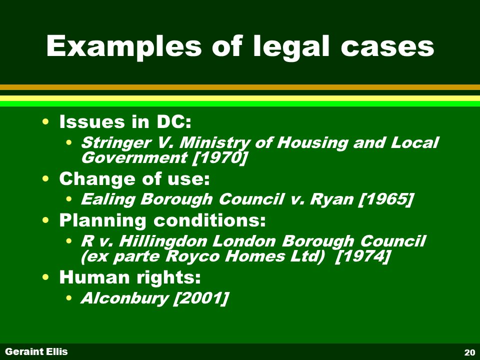 Geraint Ellis 20 Examples of legal cases Issues in DC: Stringer V.