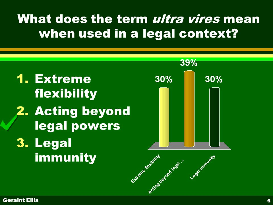 Geraint Ellis 6 What does the term ultra vires mean when used in a legal context.