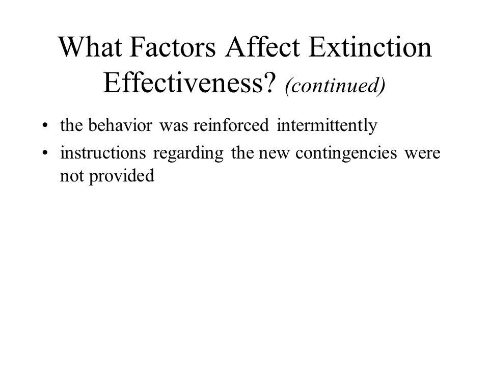 What Factors Affect Extinction Effectiveness.