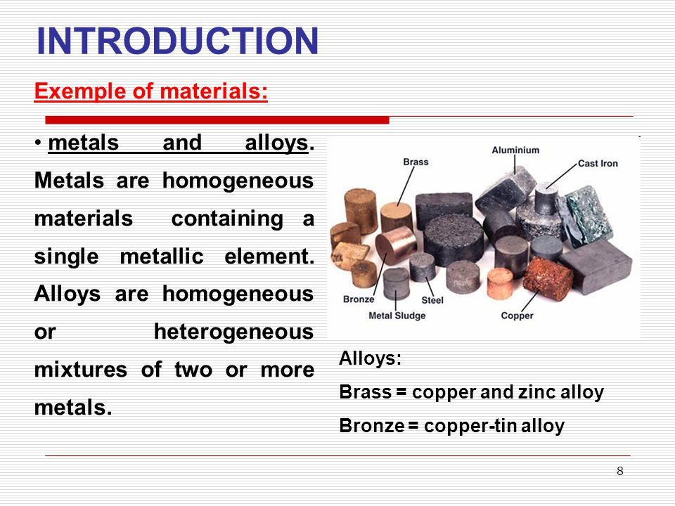 9 INTRODUCTION Exemple of materials: Wood = homogeneous material, composed of cellulose, lignin, resins and other substances.