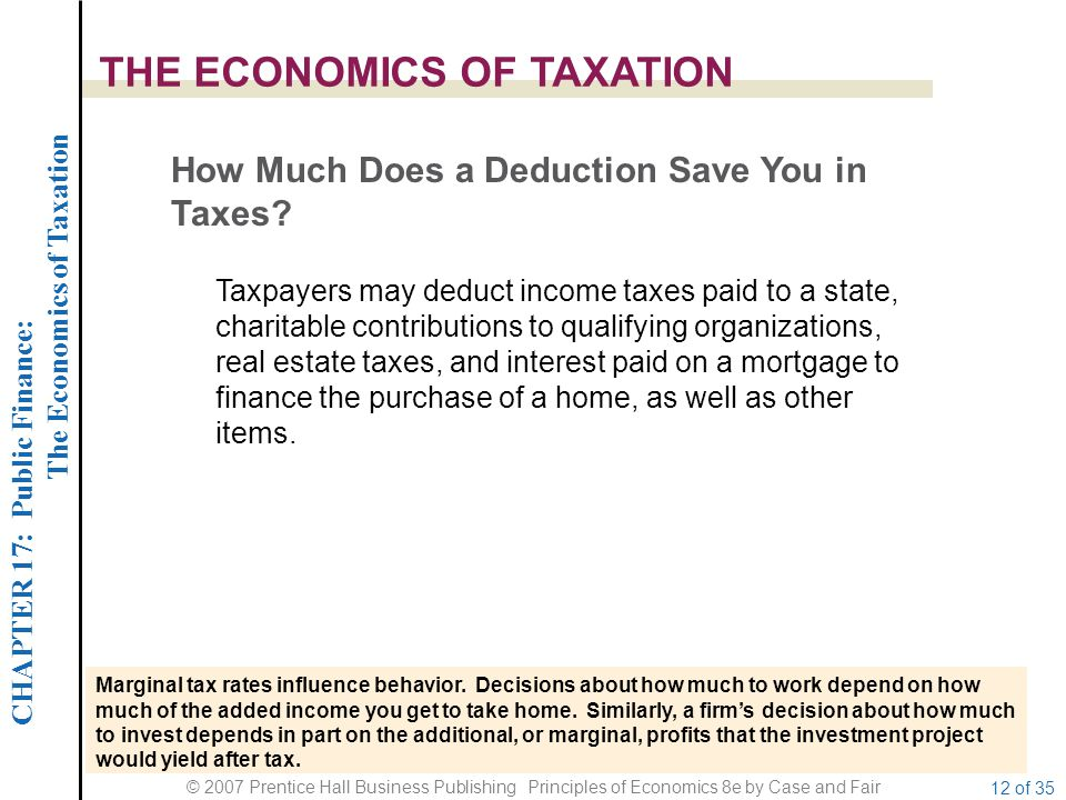 CHAPTER 17: Public Finance: The Economics of Taxation © 2007 Prentice Hall Business Publishing Principles of Economics 8e by Case and Fair 12 of 35 THE ECONOMICS OF TAXATION How Much Does a Deduction Save You in Taxes.