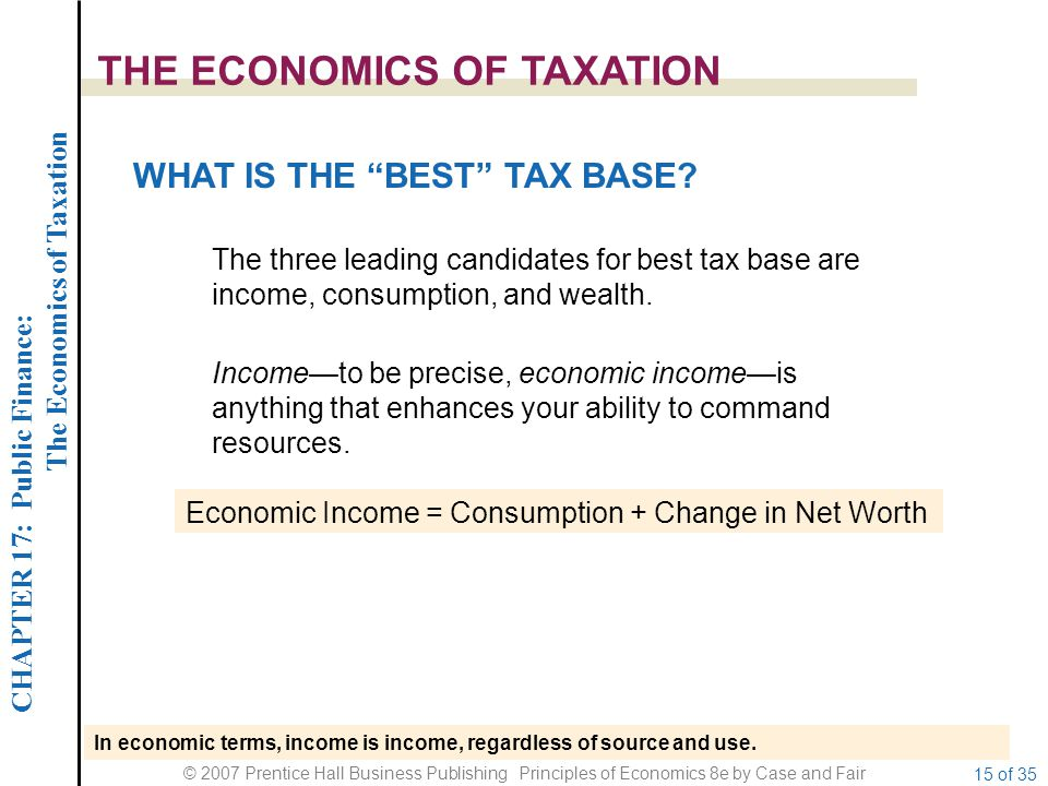 CHAPTER 17: Public Finance: The Economics of Taxation © 2007 Prentice Hall Business Publishing Principles of Economics 8e by Case and Fair 15 of 35 THE ECONOMICS OF TAXATION WHAT IS THE BEST TAX BASE.
